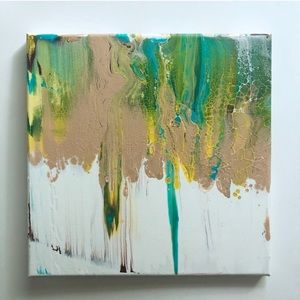 Tan Green Blue and Yellow Smear Canvas Painting